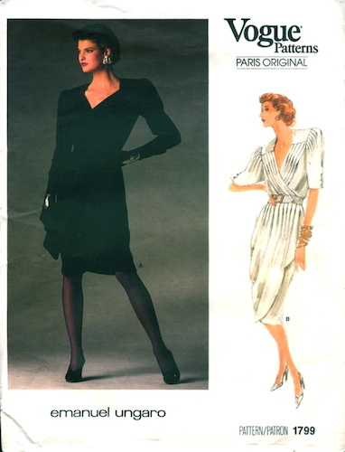 1980s Emanuel Ungaro dress pattern featuring Linda Evangelista - Vogue 1799