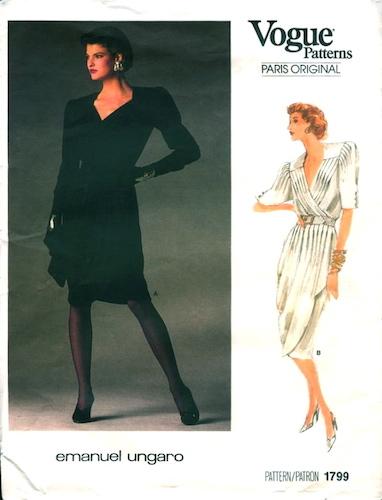 1980s Emanuel Ungaro dress pattern featuring Linda Evangelista - Vogue 1799