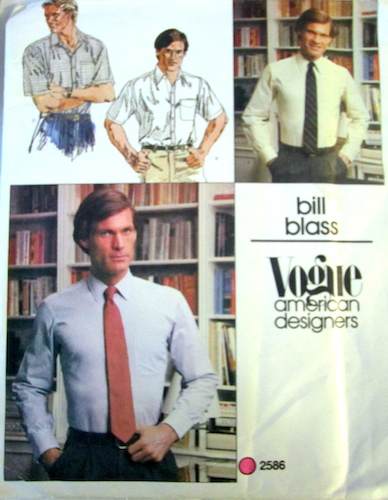 1980s Bill Blass men's shirt pattern - Vogue 2586