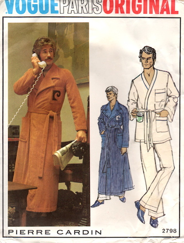 1970s Pierre Cardin men's pajamas and robe pattern - Vogue 2798 - moustachioed man on telephone