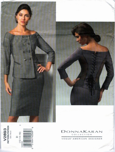 Donna Karan off-the-shoulder top and skirt pattern - Vogue 2893