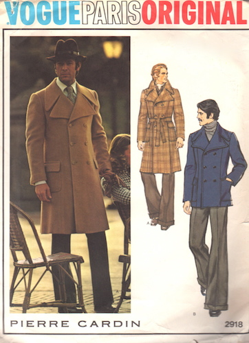 1970s Pierre Cardin men's coat pattern - Vogue 2918