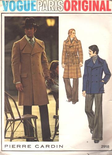 1970s Pierre Cardin men's coat pattern - Vogue 2918