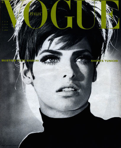 Linda Evangelista photographed by Steven Meisel for the cover of Vogue Italia February 1990