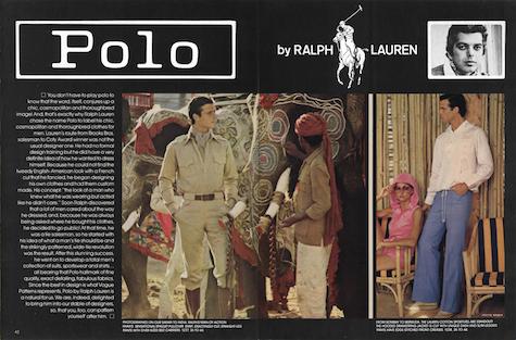 Polo Ralph Lauren men's patterns in Vogue Patterns May June 1975
