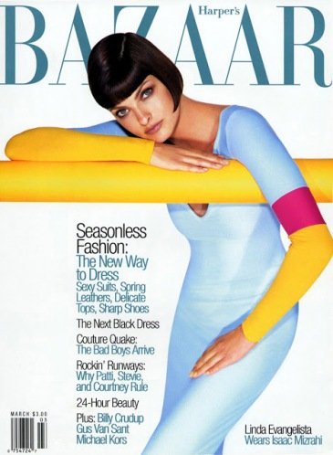Linda Evangelista photographed by Patrick Demarchelier for the cover of Harper's Bazaar, March 1997