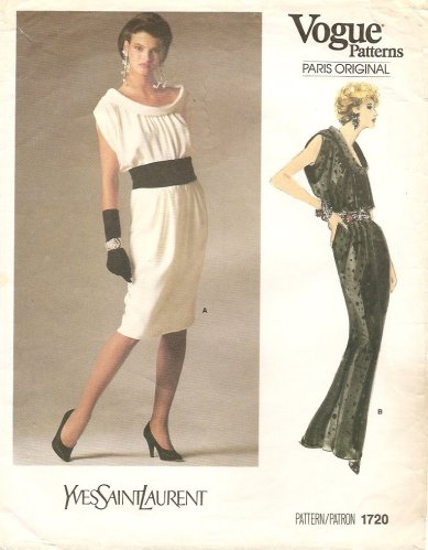 1980s Yves Saint Laurent dress pattern featuring Linda Evangelista - Vogue 1720