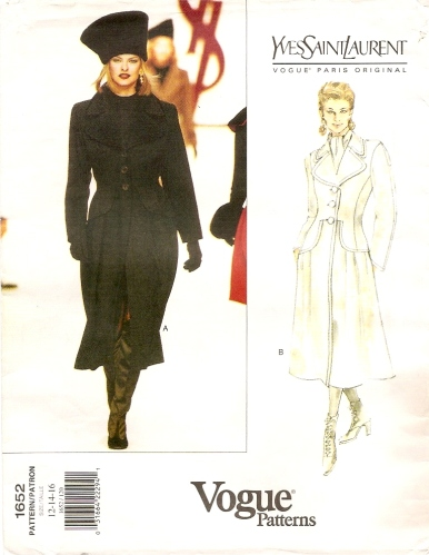 1990s Yves Saint Laurent coat pattern featuring Linda Evangelista - Vogue 1652