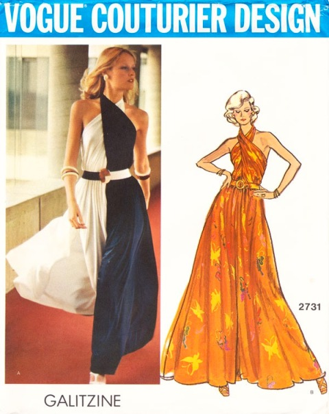 1970s Galitzine lounge pantdress pattern - Vogue 2731