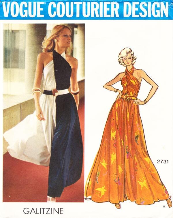 1970s Galitzine lounge pantdress pattern - Vogue 2731