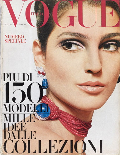 Benedetta Barzini photographed by Peter Knapp for the cover of Vogue Italia, September 1967