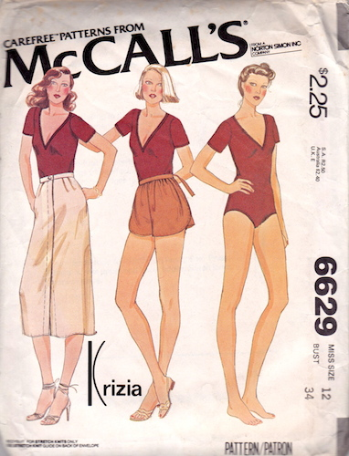 1970s Krizia bodysuit, skirt, and shorts pattern - McCall's 6629 - Carefree patterns