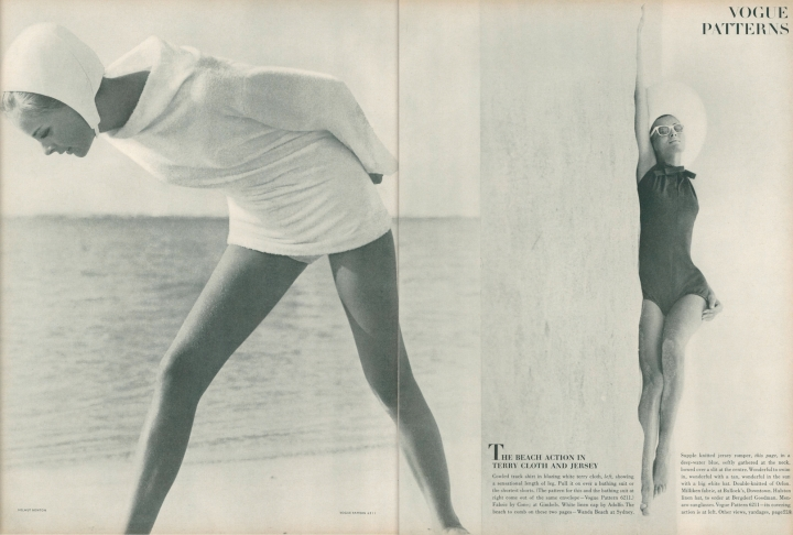 Vogue 6211 coverup and bathing suit photographed by Helmut Newton - Vogue 1 May 1964