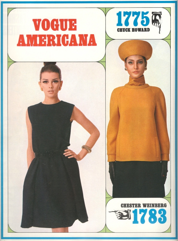 Astrid Heeren and Benedetta Barzini model Vogue 1783 (Chester Weinberg) and Vogue 1775 (Chuck Howard), Vogue Pattern Book fall 1967