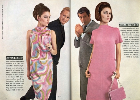 Benedetta Barzini wears McCall's 8620 by Donald Brooks and McCall's 8616 by Pauline Trigère, Spring 1967