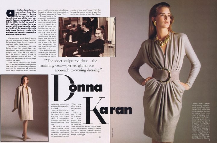 Donna Karan Vogue Patterns SeptOct 1987