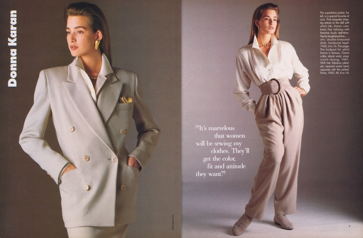 Donna Karan Vogue Patterns Sept/Oct 1987c