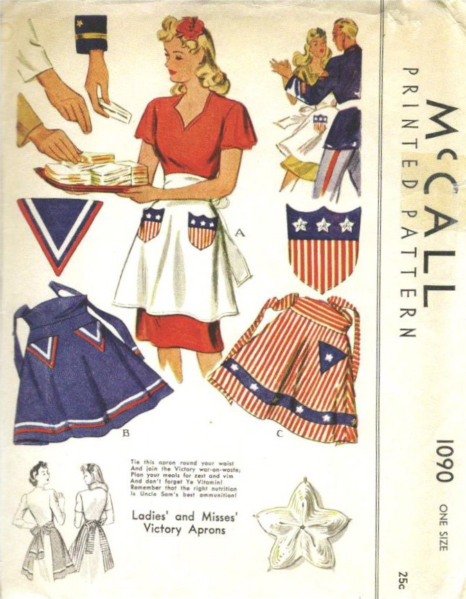 Ladies' and Misses' Victory Aprons: McCall 1090 (1943)