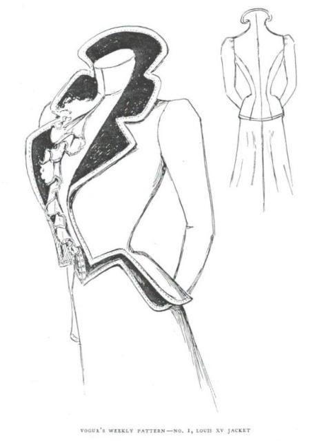 The first Vogue pattern: Louis XV Jacket, Vogue 1 (1899)