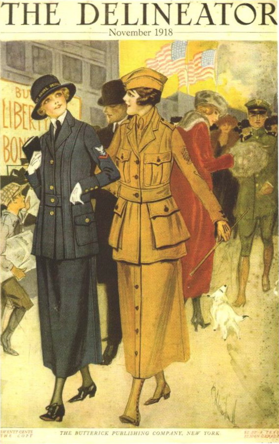 Official Yeowoman's Costume of the U.S. Navy, Butterick 1101. The Delineator, November 1918