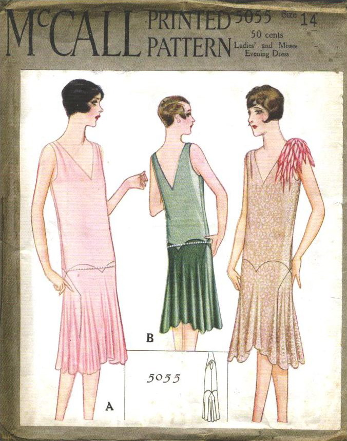 1920s couturier evening dress pattern by Madeleine Vionnet, McCall 5055 (1927)