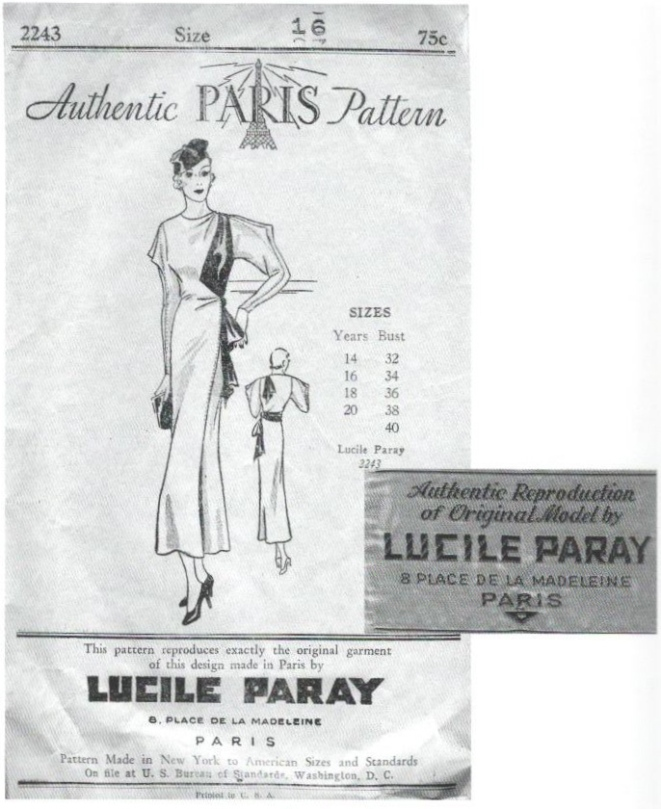 A couturier dress pattern by Lucile Paray with cloth label: Paris Pattern 2243 (1933)