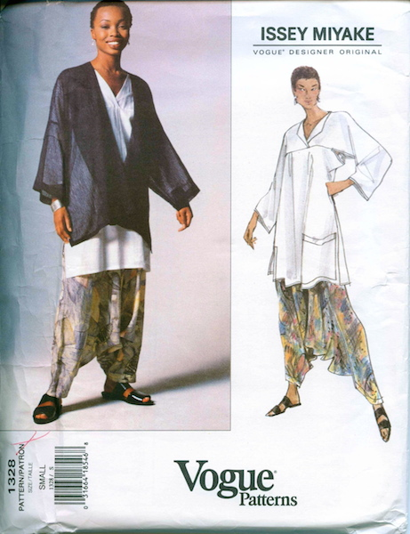 1990s Issey Miyake pattern including dropped-crotch pant Vogue 1328 feat. Phina Oruche
