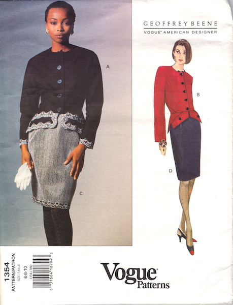 1990s Geoffrey Beene top and skirt pattern - Vogue 1354