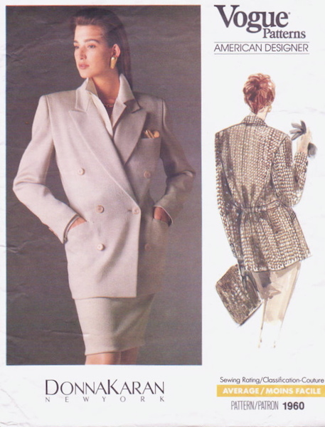 1980s Donna Karan jacket pattern - Vogue 1960