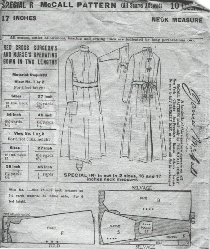 McCall Special R (1917) Red Cross Surgeon's and Nurse's Operating Gown in Two Lengths