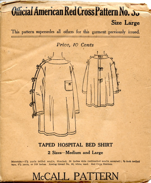 WW1 McCall Red Cross taped hospital bed shirt pattern - Red Cross 35