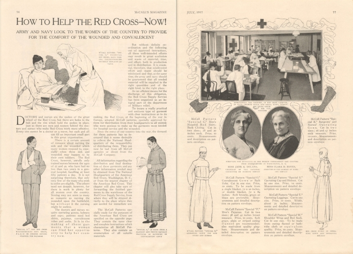 """How to Help the Red Cross--Now! Army and navy look to the women of the country to provide for the comfort of the wounded and convalescent"" McCall's July 1917 Red Cross patterns"