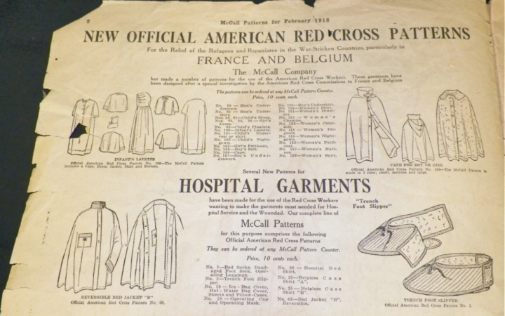 Red Cross patterns and hospital garments in WW1 McCall Fashions (Style News) for February 1918