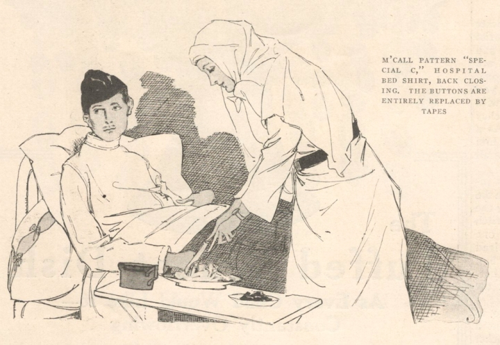 Red Cross hospital bed shirt pattern ilustrated: McCall Special C (1917)