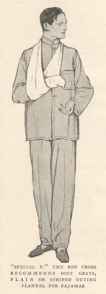 Red Cross pajamas pattern illustrated: McCall Special P (1917)