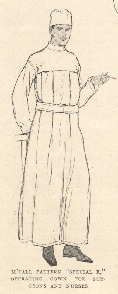 Red Cross operating gown pattern illustration: McCall Special R (1917)