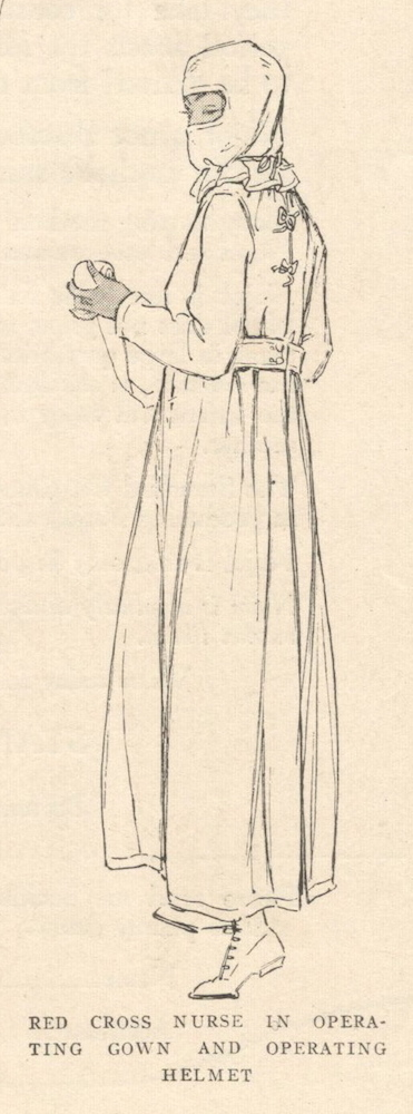 Red Cross operating gown and operating helmet pattern illustrated: McCall Special R helmet (1917)
