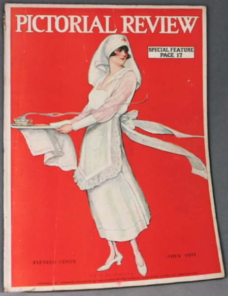 Red Cross worker on the cover of Pictorial Review magazine, July 1917
