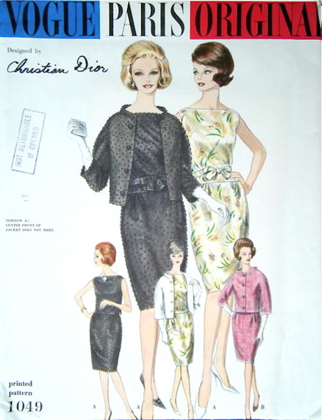 1960s Christian Dior suit pattern - Vogue 1049