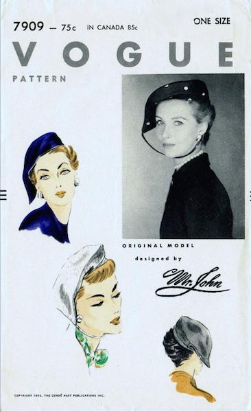 1950s Mr. John hat pattern - Vogue 7909