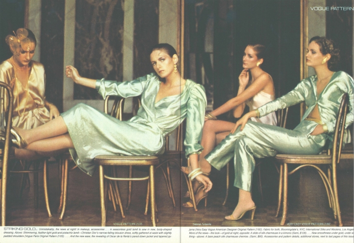 Striking Gold: Vogue Patterns photographed in gold-pistachio lamé by Deborah Turbeville, 1979