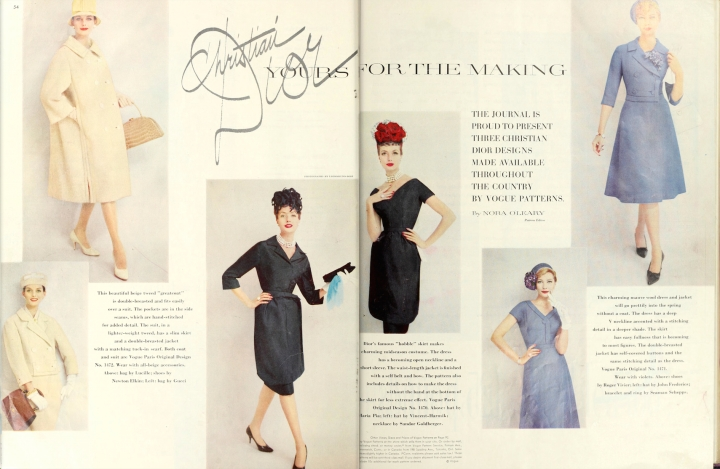"Nora O'Leary, ""Christian Dior: Yours for the Making,"" with hats by Vincent-Harmik, Maria Pia, and John Frederics - Ladies' Home Journal Jan 1960"