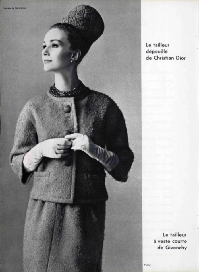 Le tailleur dépouillé de Christian Dior, photographed by Philippe Pottier, L'Officiel 457-58 (1960)