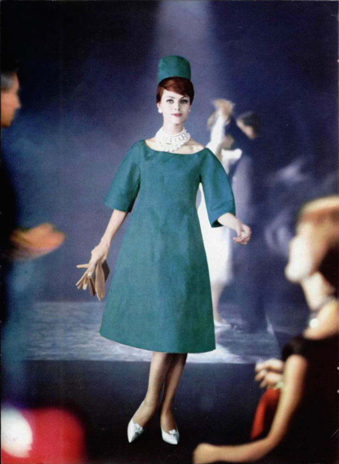 Dior silk dress by Yves Saint Laurent, Guy Arsac 1960 LOfficiel 457-58