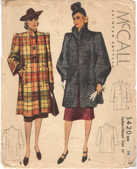 1930s coat pattern shown in check or faux Astrakhan - McCall 3420