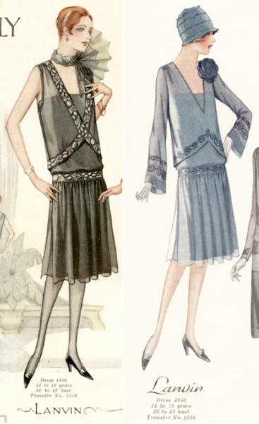 Illustrations of a 1920s Lanvin dress pattern - McCall 4856