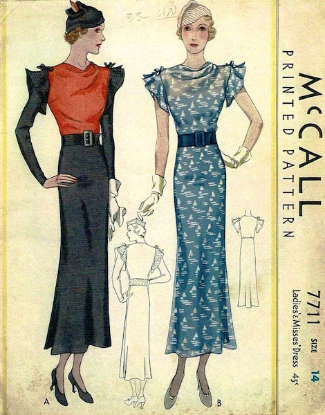 1930s Lanvin dress pattern - McCall 7711