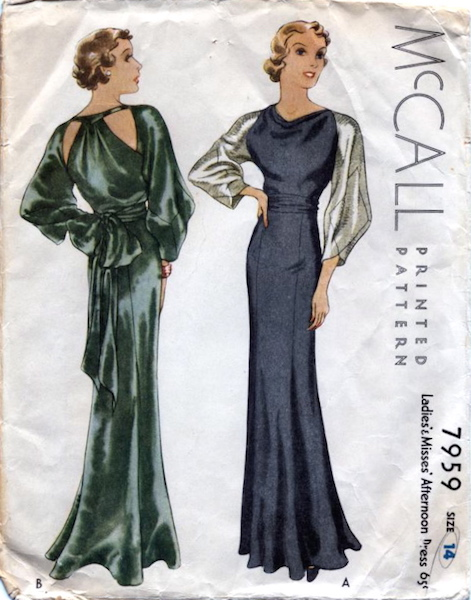 1930s Lanvin afternoon dress pattern - McCall 7959