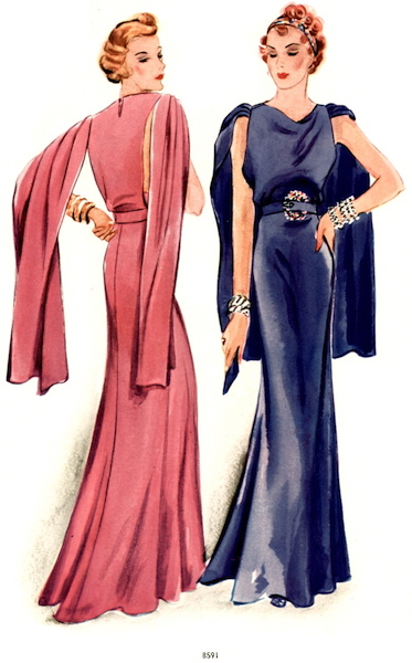 Illustration of Lanvin evening gown McCall 8591 in a 1930s McCall pattern catalogue