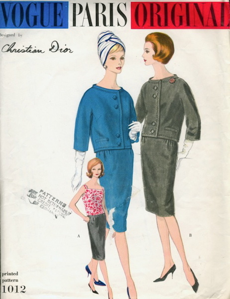 1960s Christian Dior suit and blouse pattern - Vogue 1012